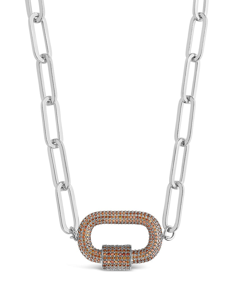 Pave CZ Carabiner Linked Lock Necklace Necklace Sterling Forever Silver Red