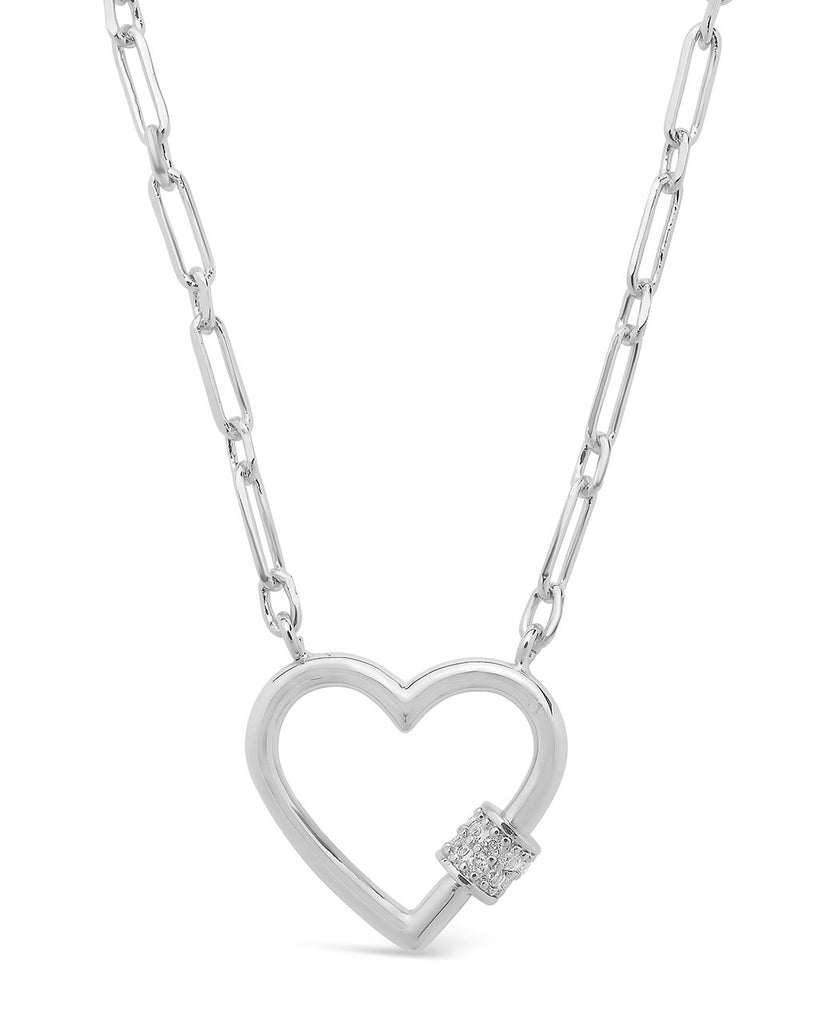 Mini Heart Carabiner Necklace Necklace Sterling Forever Silver