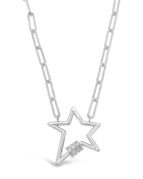 CZ Star Carabiner Necklace Necklace Sterling Forever Silver
