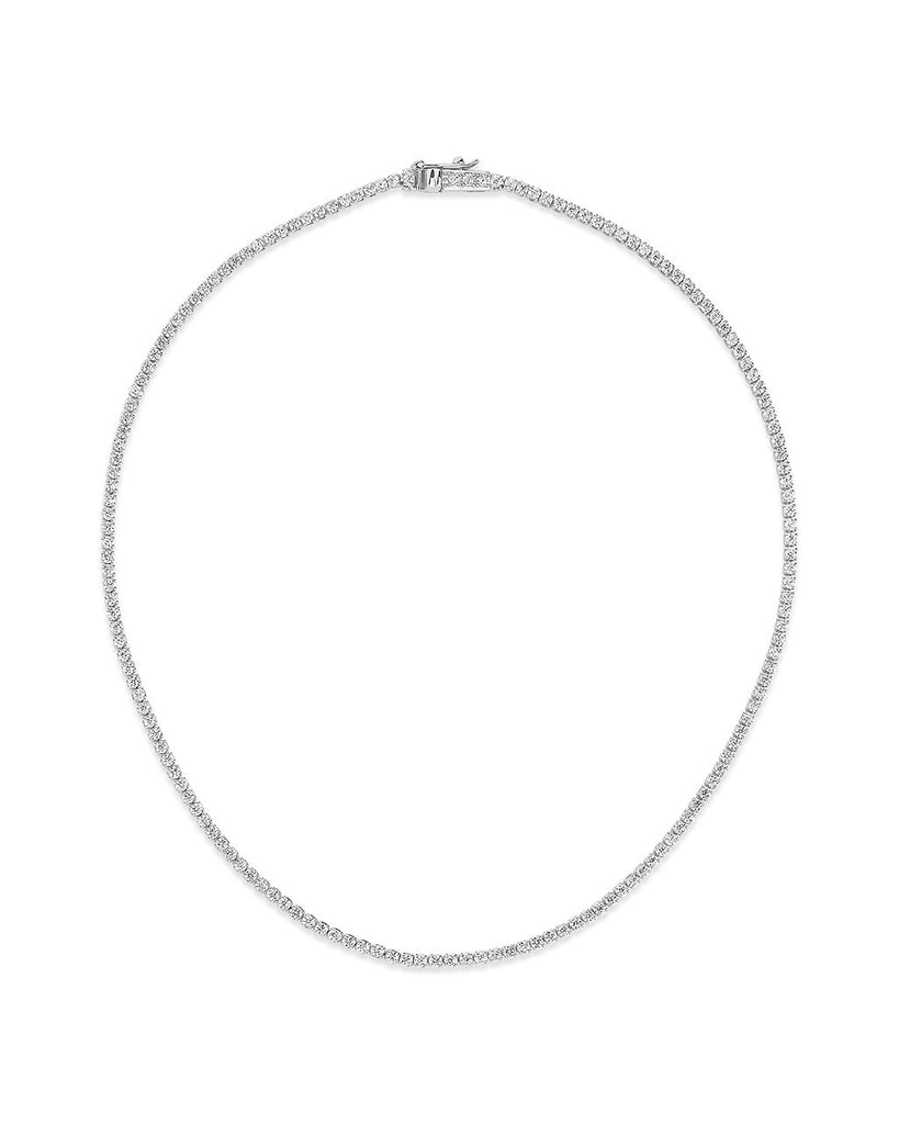 Bezel CZ Tennis Necklace Necklace Sterling Forever Silver 13""