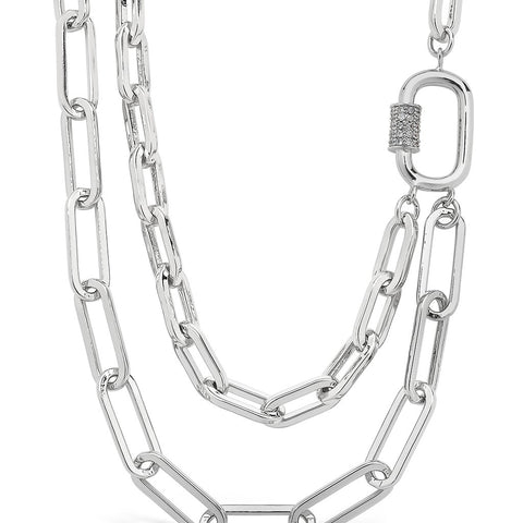 Double Layer CZ Carabiner Chain Necklace Necklace Sterling Forever Silver