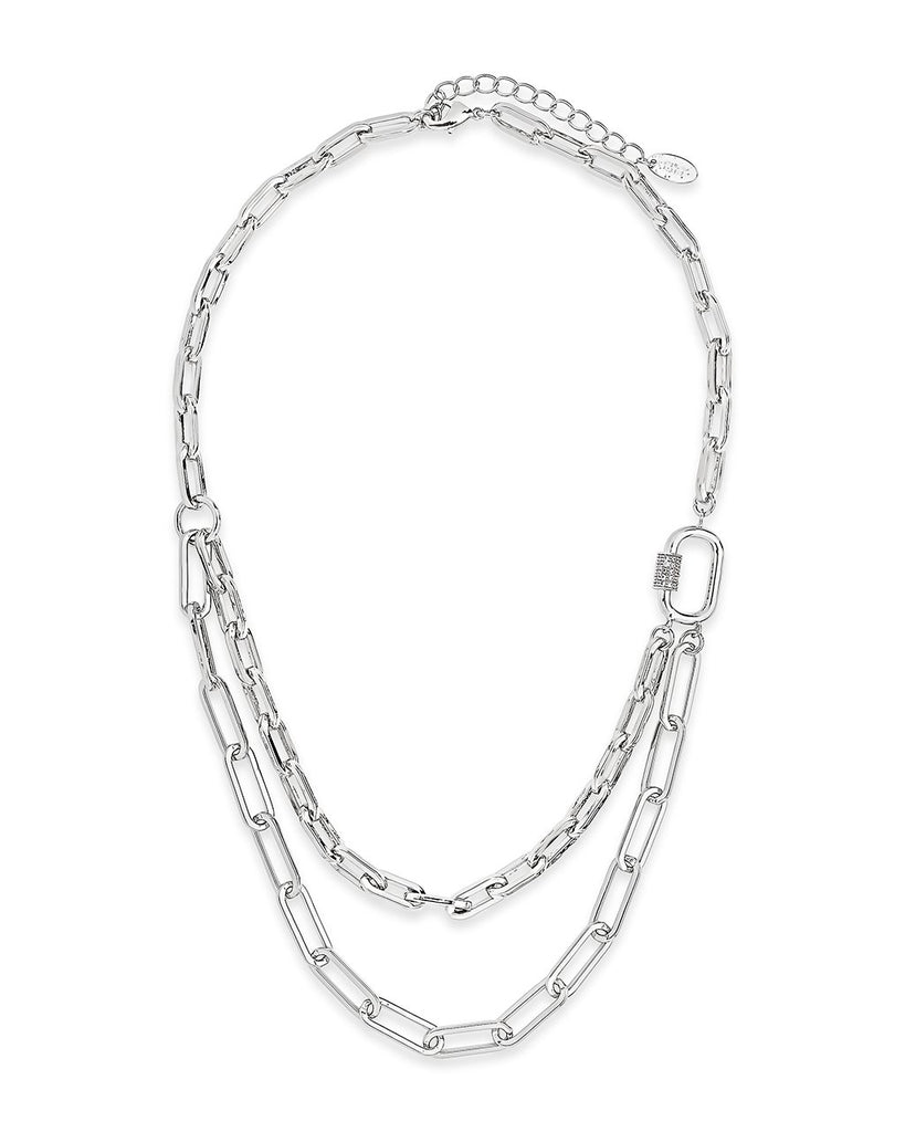 Double Layer CZ Carabiner Chain Necklace Necklace Sterling Forever