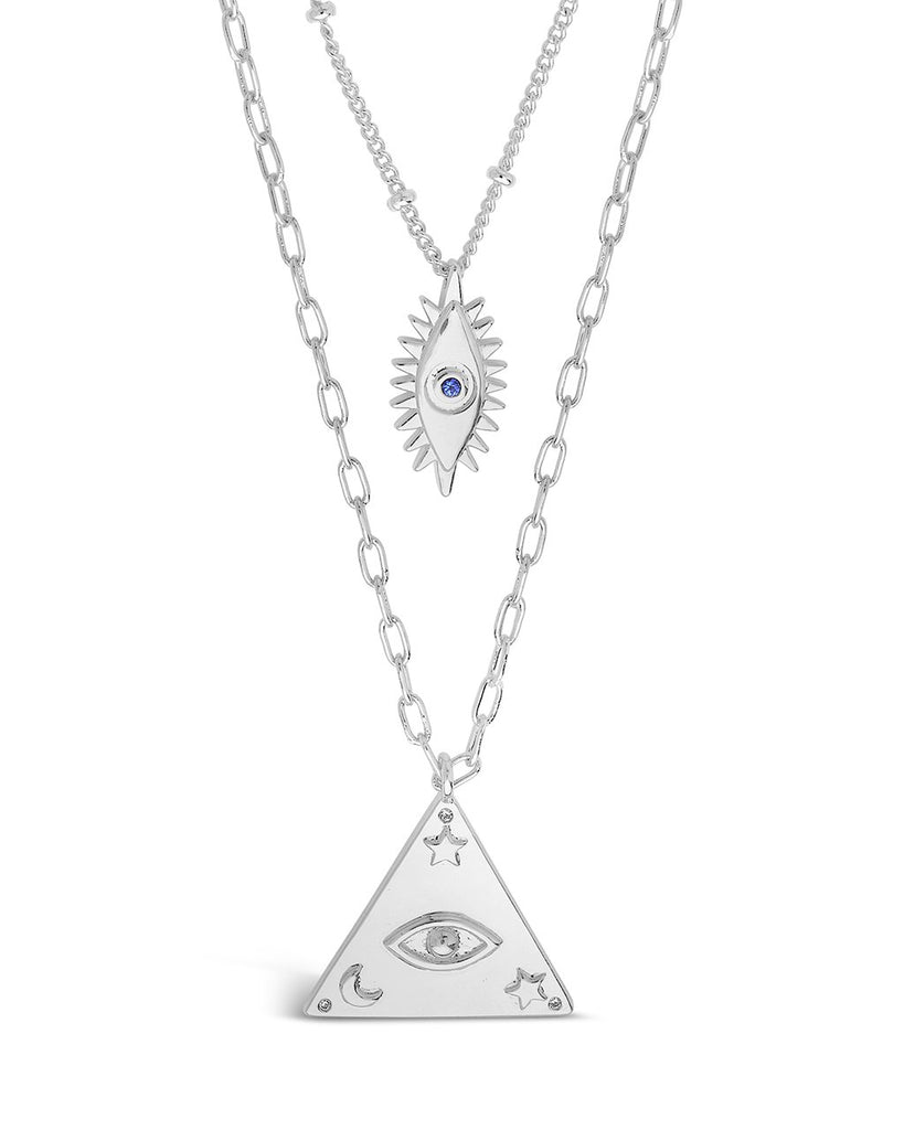 CZ Evil Eye Layered Necklace Set Necklace Sterling Forever Silver