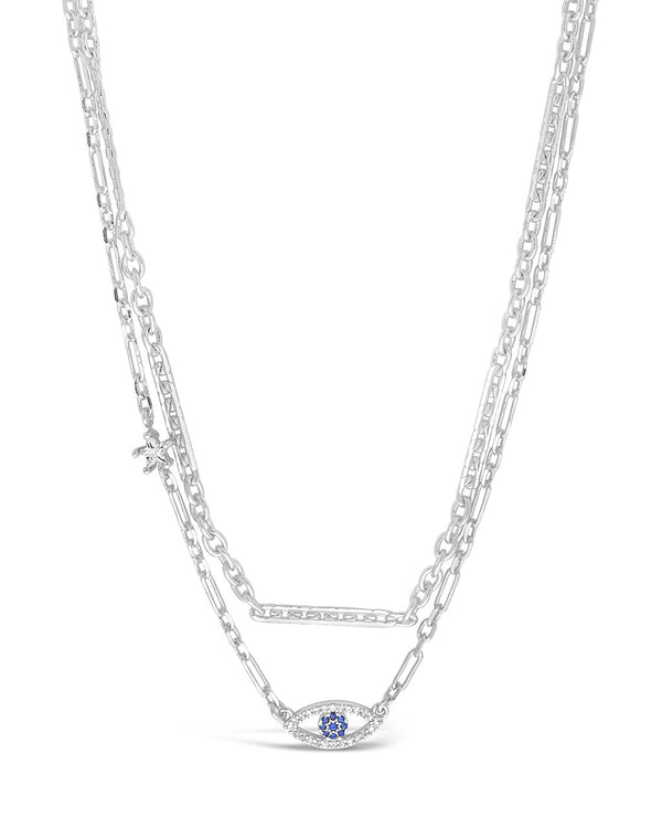 Stationed Star & Evil Eye Layered Necklace Necklace Sterling Forever Silver