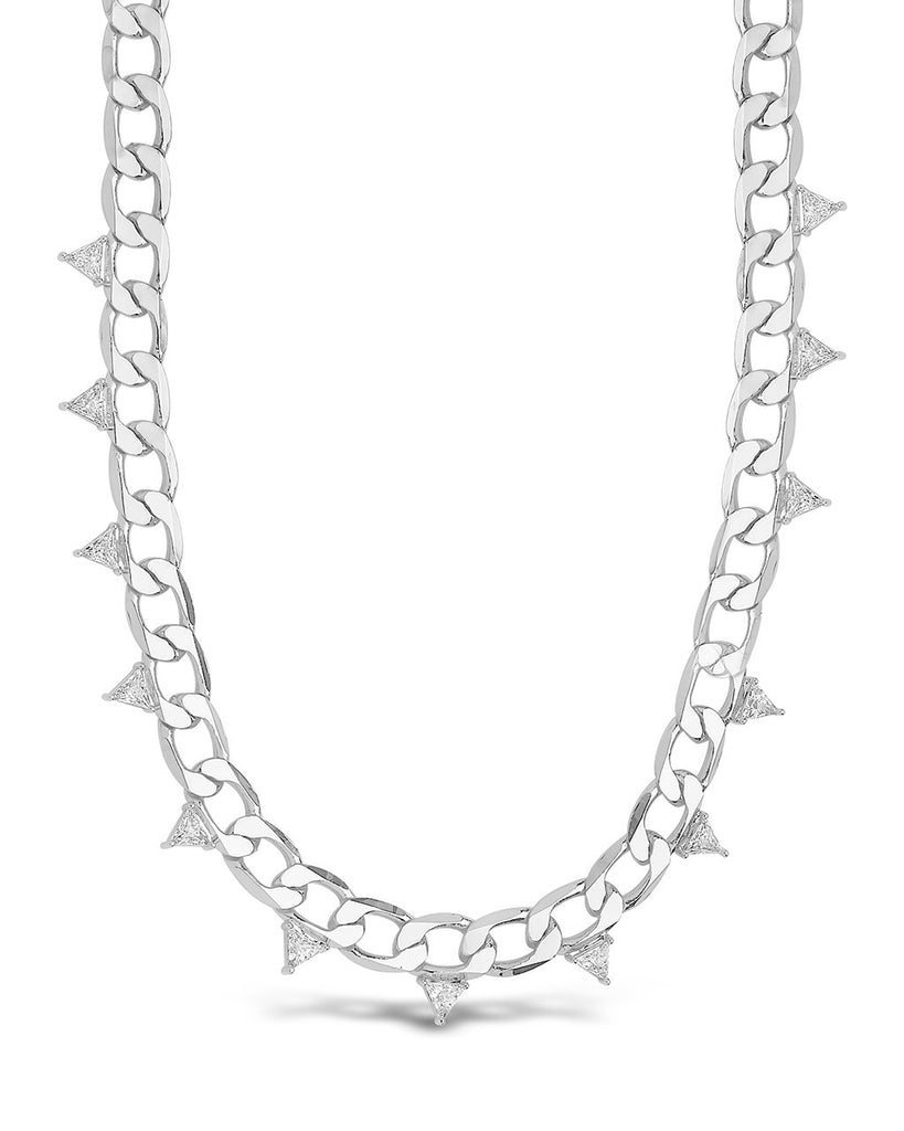 Cuban Chain Choker with Triangle Station CZs Necklace Sterling Forever