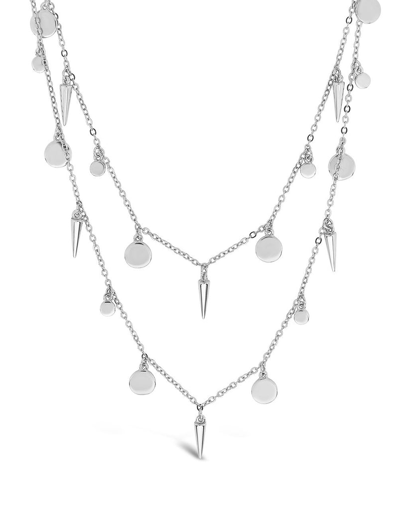 Charm & CZ Station Necklace Set Necklace Sterling Forever Silver