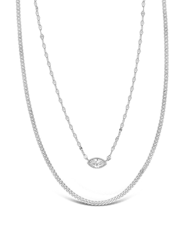 CZ Dainty Layered Necklace Necklace Sterling Forever Silver