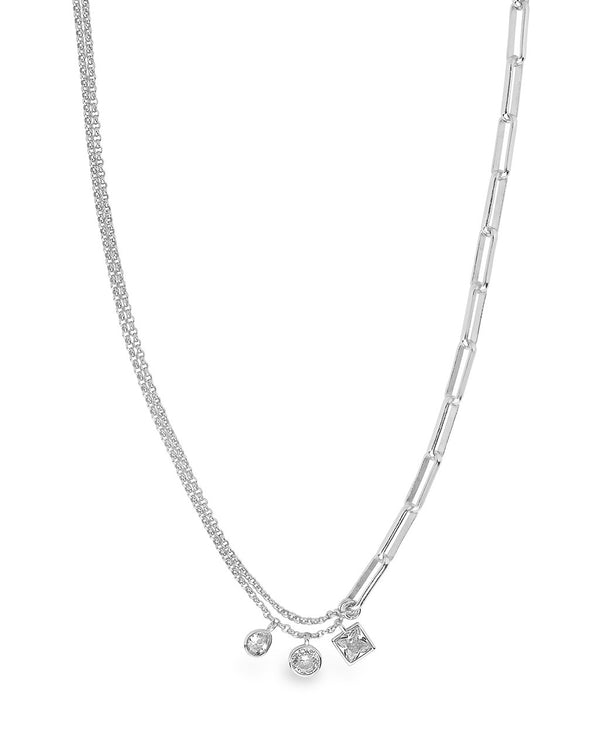 Delicate Link Necklace with CZ Charms Necklace Sterling Forever Silver