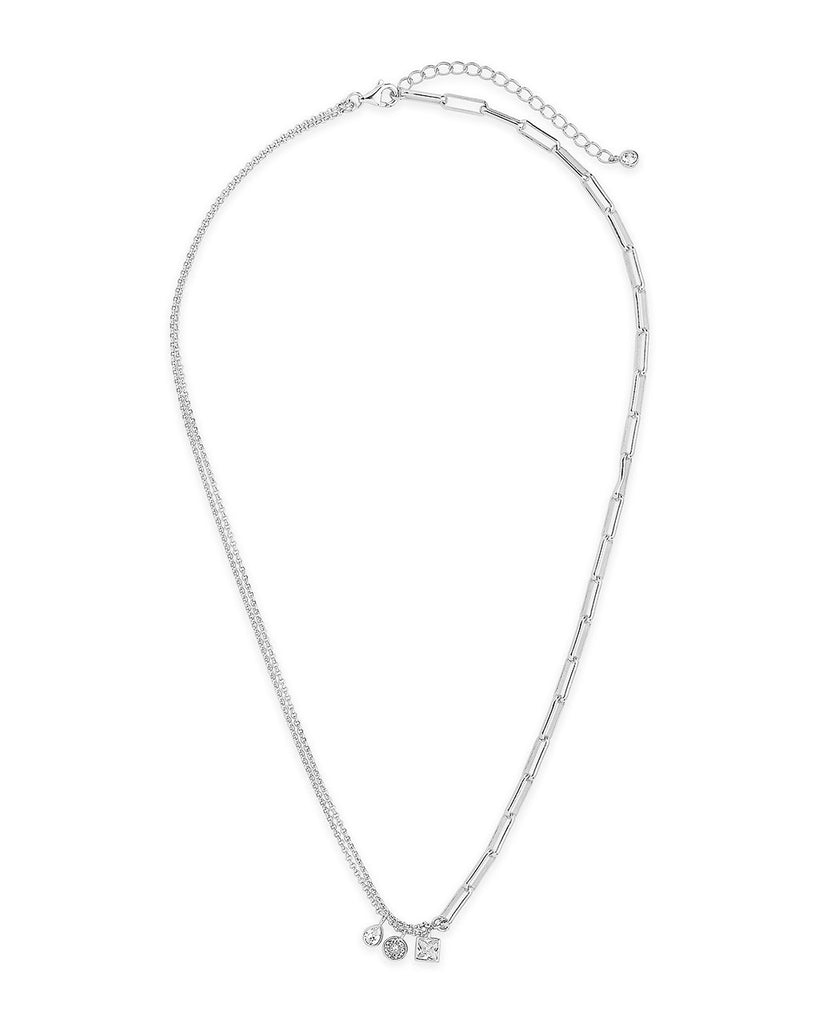 Delicate Link Necklace with CZ Charms Necklace Sterling Forever
