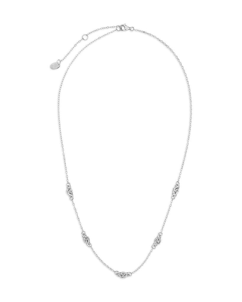 Sterling Silver Delicate Knot Station Necklace Necklace Sterling Forever