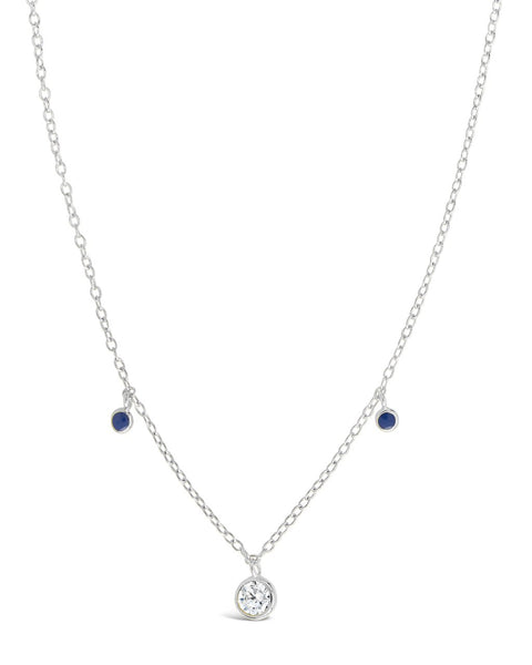 Sterling Silver Enamel & CZ Charm Necklace Necklace Sterling Forever Silver Blue