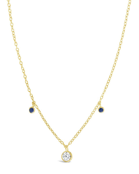 Sterling Silver Enamel & CZ Charm Necklace Necklace Sterling Forever Gold Blue
