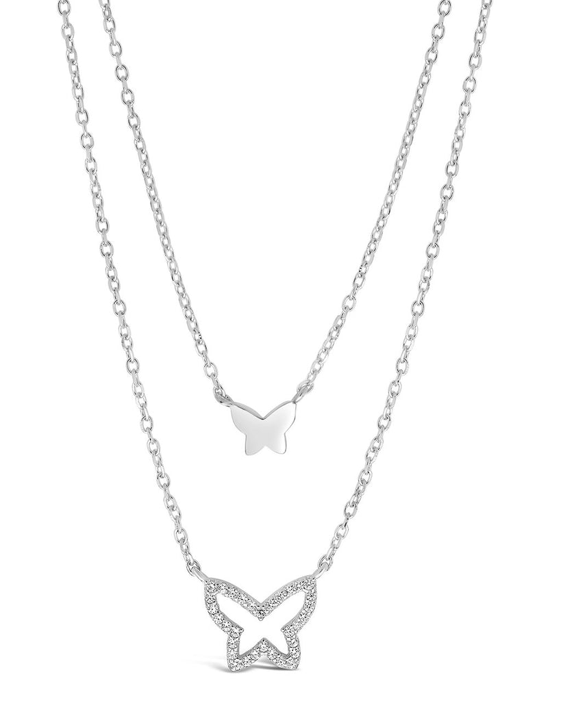 Sterling Silver CZ & Butterfly Layered Necklace Necklace Sterling Forever Silver