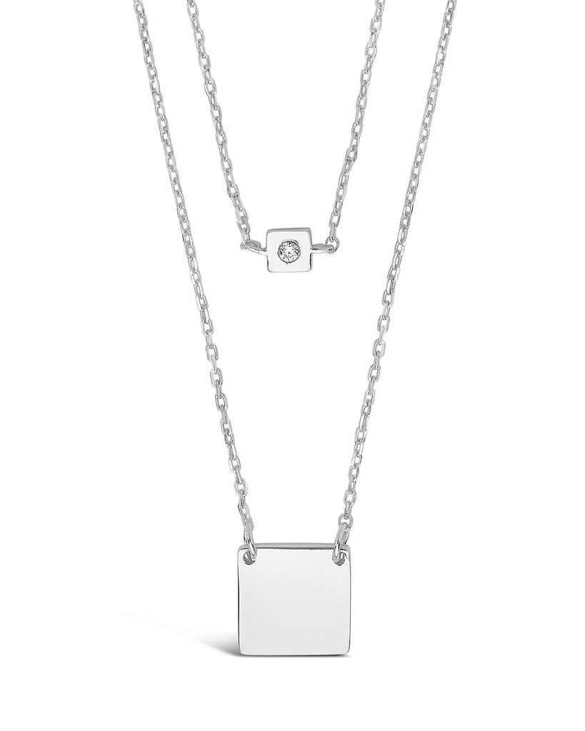 Sterling Silver Square Tag & CZ Layered Necklace Necklace Sterling Forever Silver