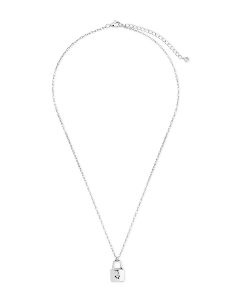 Sterling Silver Simple CZ Lock Necklace Necklace Sterling Forever