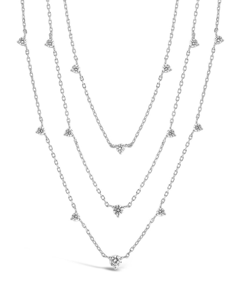 Sterling Silver CZ Studded Multi Chain Necklace Necklace Sterling Forever