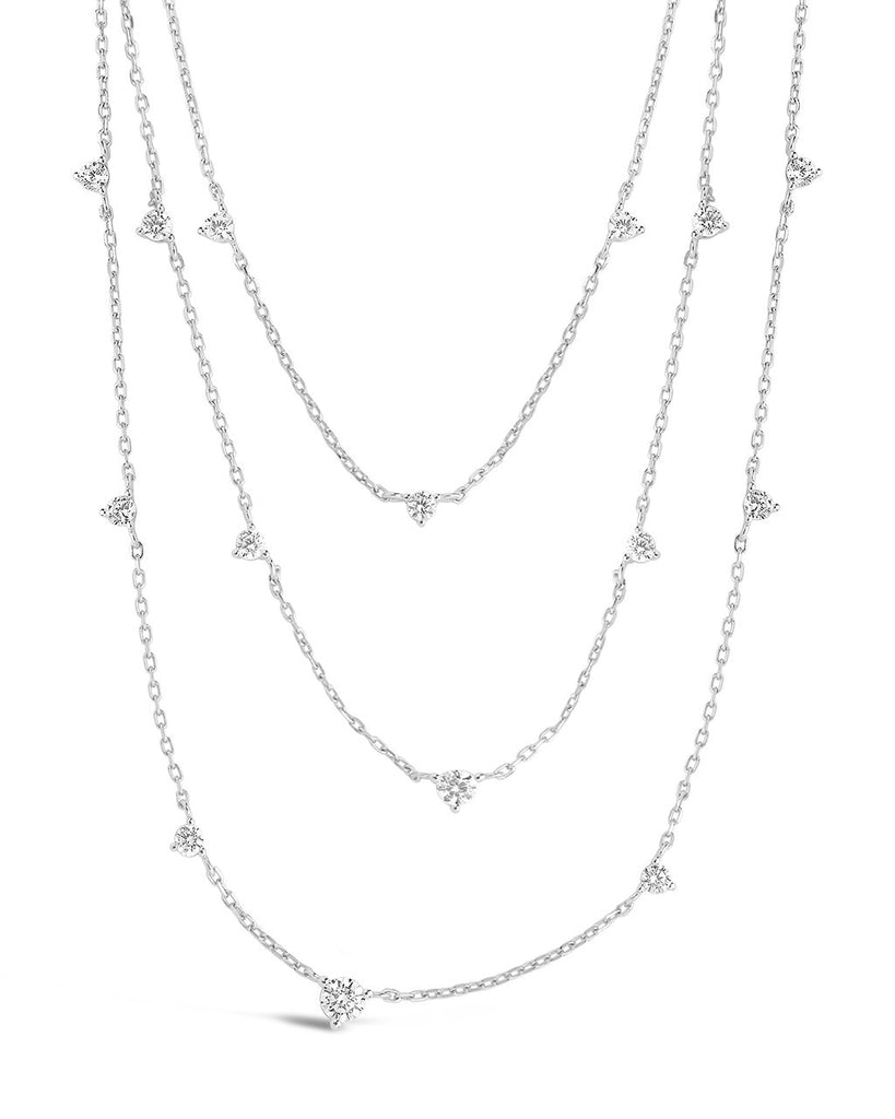 Sterling Silver CZ Studded Multi Chain Necklace Necklace Sterling Forever Silver