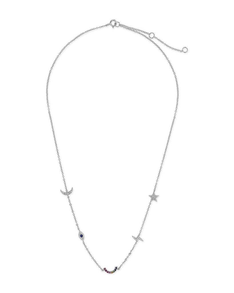 Sterling Silver Lucky Charm Station Necklace Necklace Sterling Forever