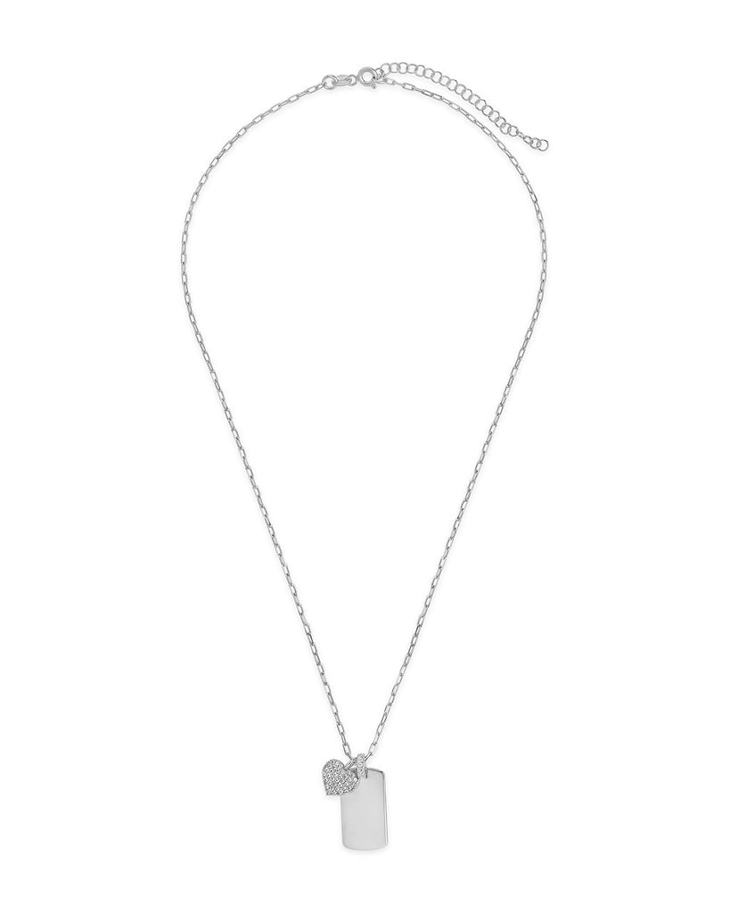 Sterling Silver Tag & CZ Heart Pendant Necklace Necklace Sterling Forever