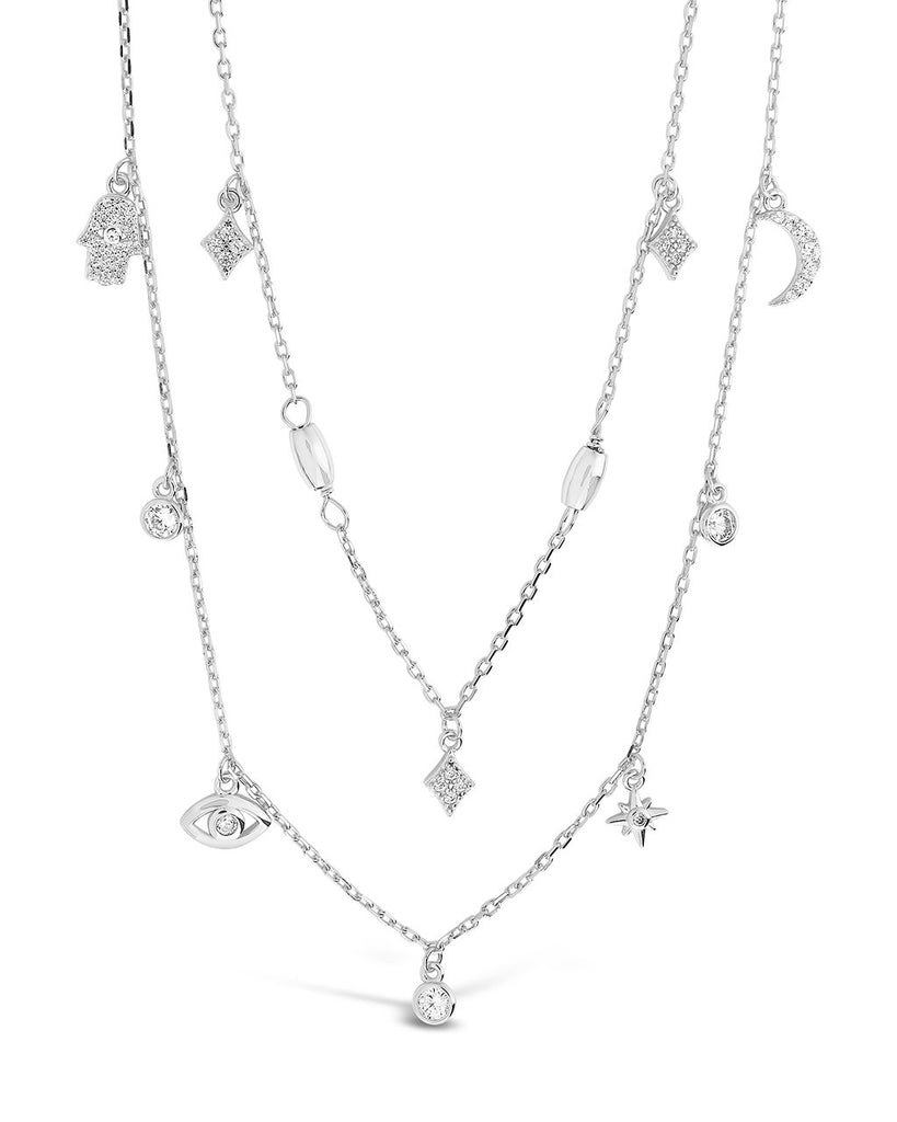 Sterling Silver CZ Evil Eye & Hamsa Layered Charm Necklace Necklace Sterling Forever Silver