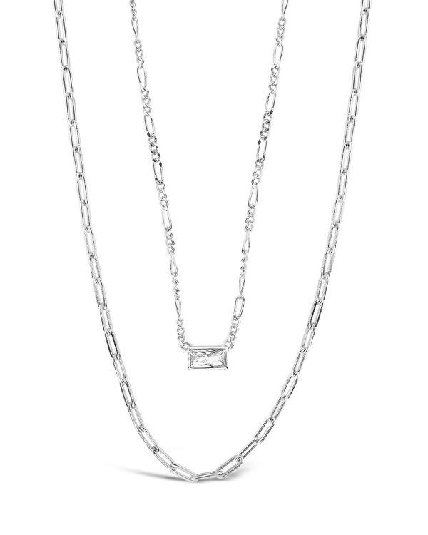 Delicate Sterling Silver 2 Layer Chain Necklace with Baguette CZ Charm Necklace Sterling Forever Silver