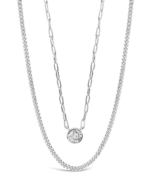 Delicate Sterling Silver 2 Layer Chain Necklace with Bezel CZ Charm Necklace Sterling Forever Silver