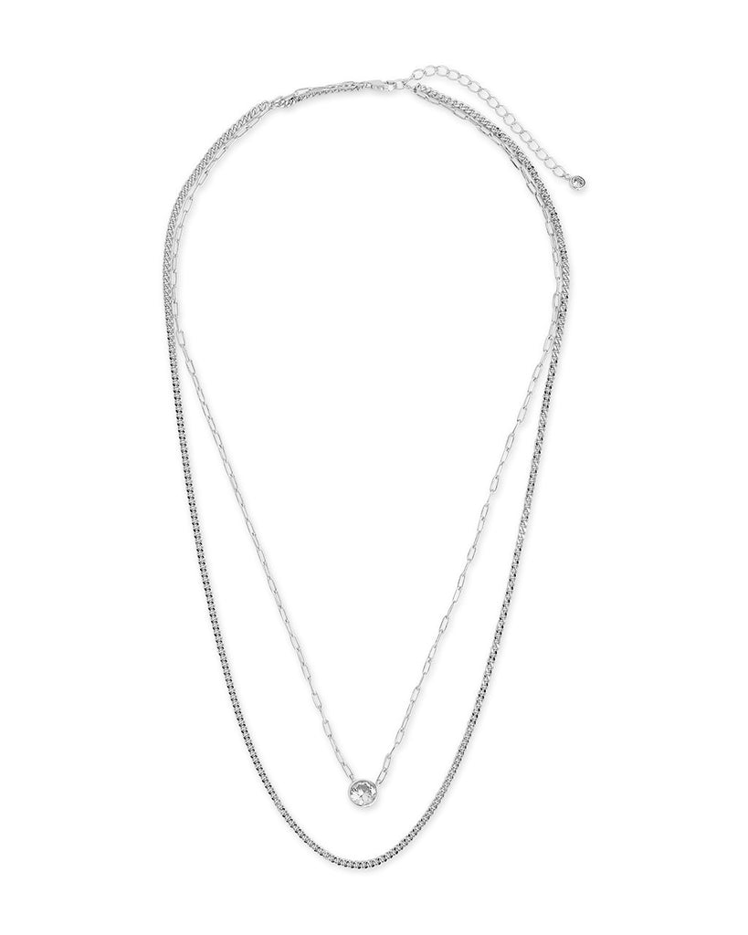 Delicate Sterling Silver 2 Layer Chain Necklace with Bezel CZ Charm Necklace Sterling Forever