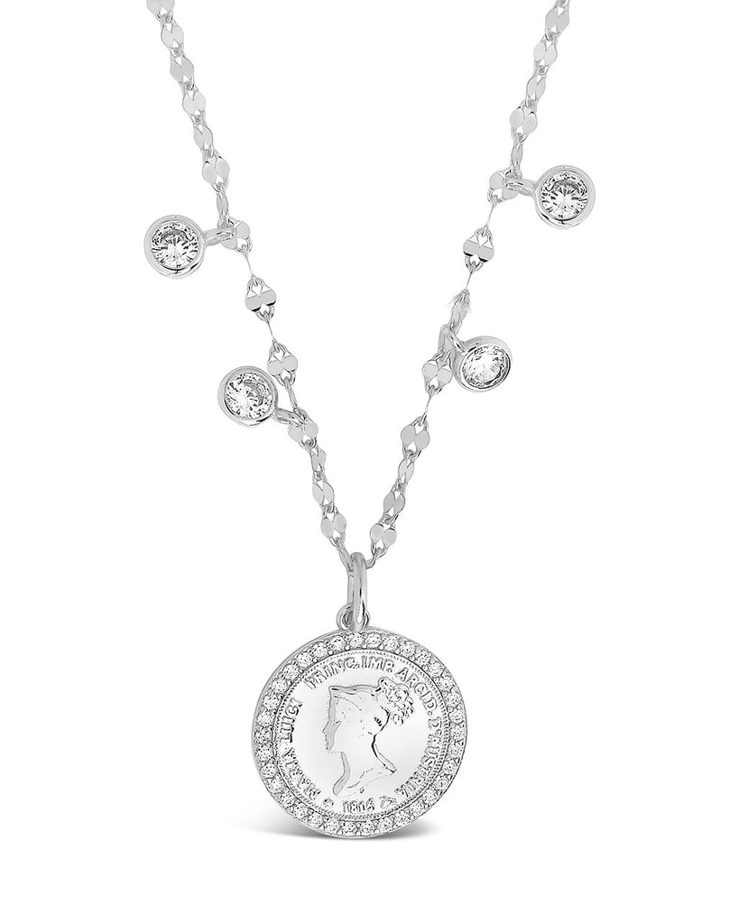 Sterling Silver Coin Medallion & Bezel CZ Charm Necklace Necklace Sterling Forever Silver