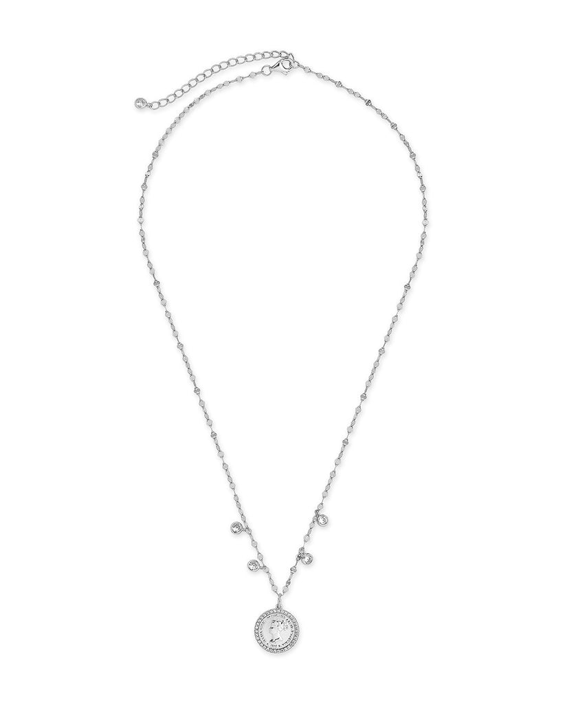 Sterling Silver Coin Medallion & Bezel CZ Charm Necklace Necklace Sterling Forever