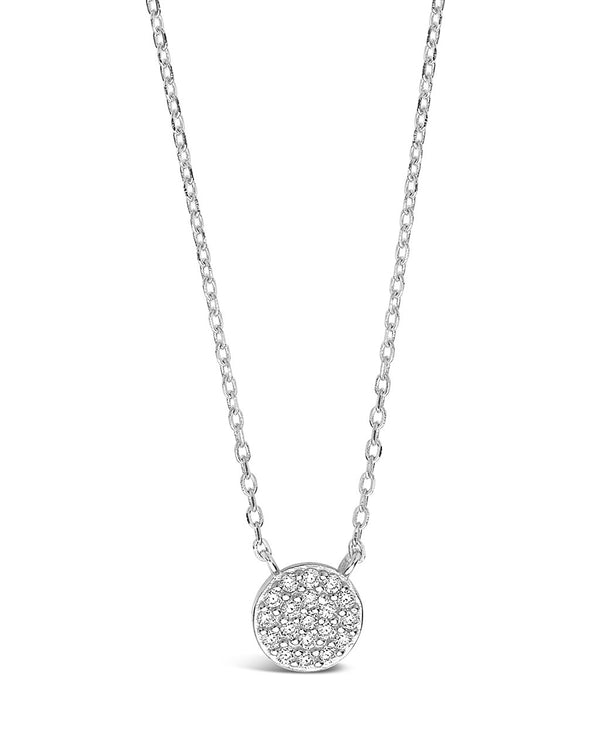 Sterling Silver CZ Disk Pendant Necklace Sterling Forever Silver