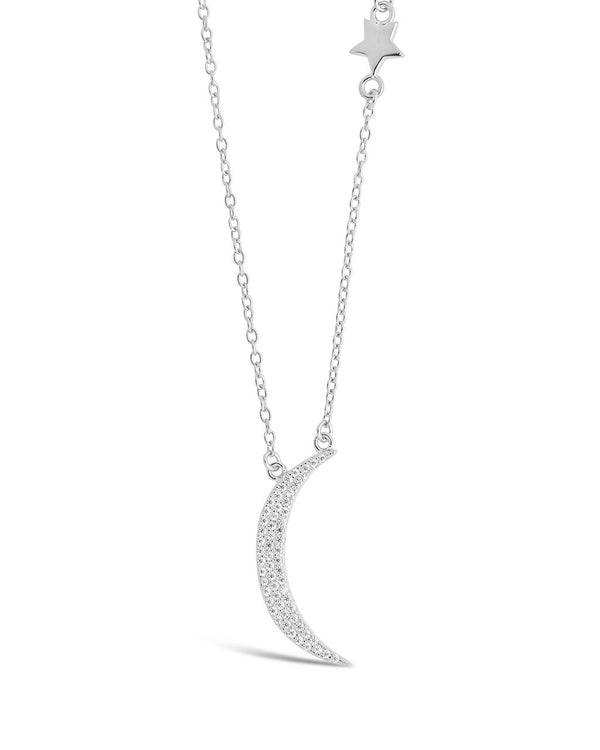 Sterling Silver CZ Moon with Star Charm Necklace Necklace Sterling Forever Silver
