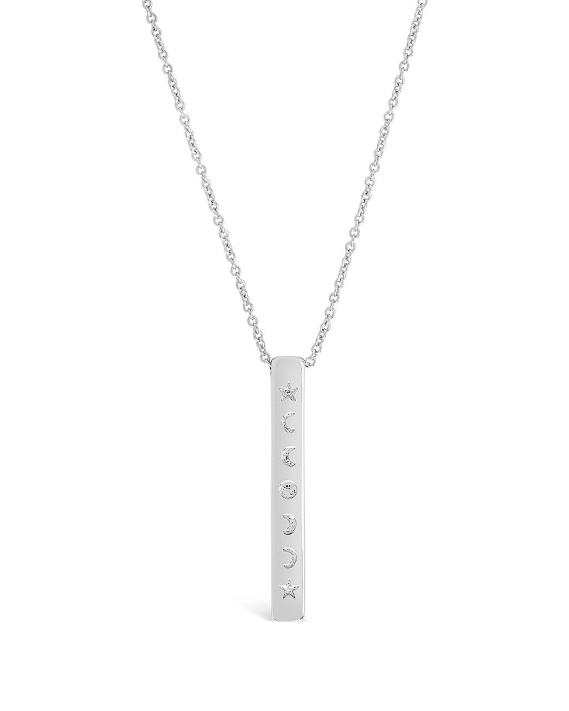 Moon Phase Hanging Bar Necklace - Sterling Forever
