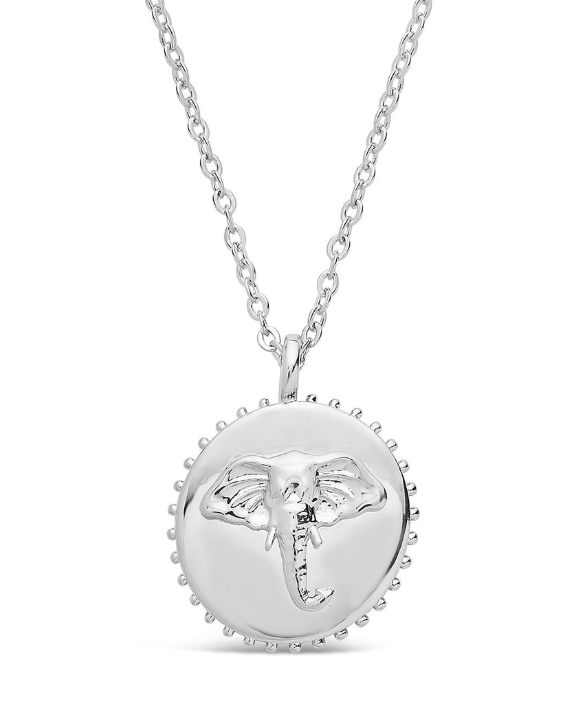 Untamed Medallion Pendant Necklace Sterling Forever Silver Elephant