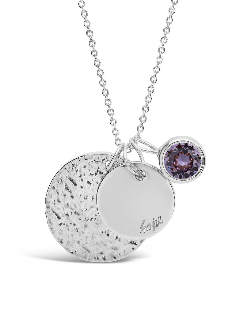 Hope Disk & Birthstone Charm Necklace - Sterling Forever