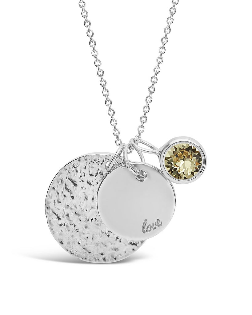 Love Disk & Birthstone Charm Necklace - Sterling Forever