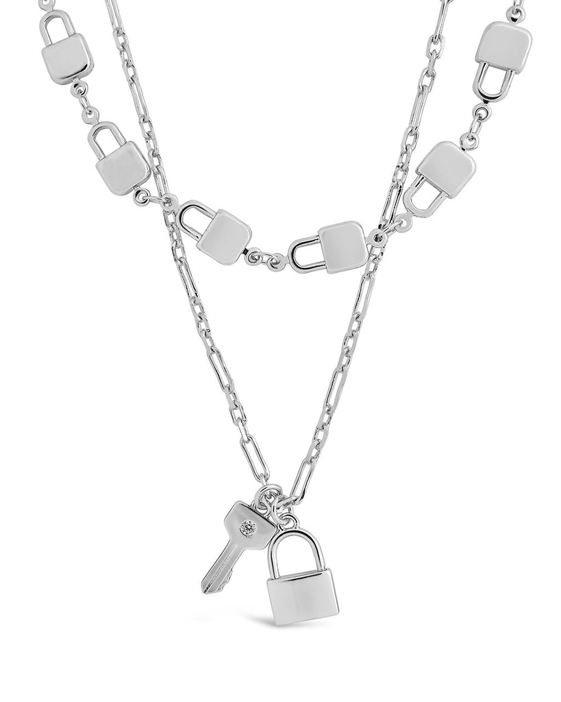 Lock & Key Layered Necklace Necklace Sterling Forever Silver
