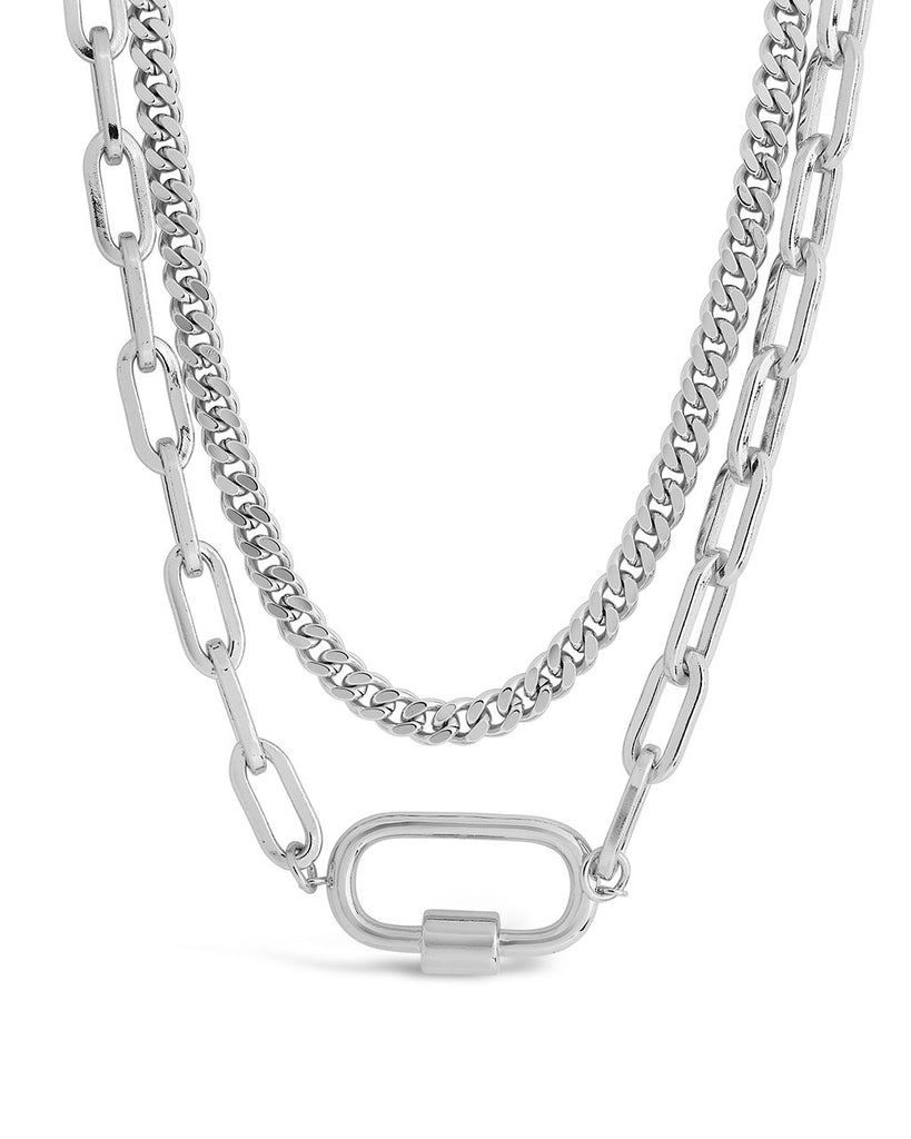 Polished Carabiner Layered Chain Necklace Necklace Sterling Forever Silver