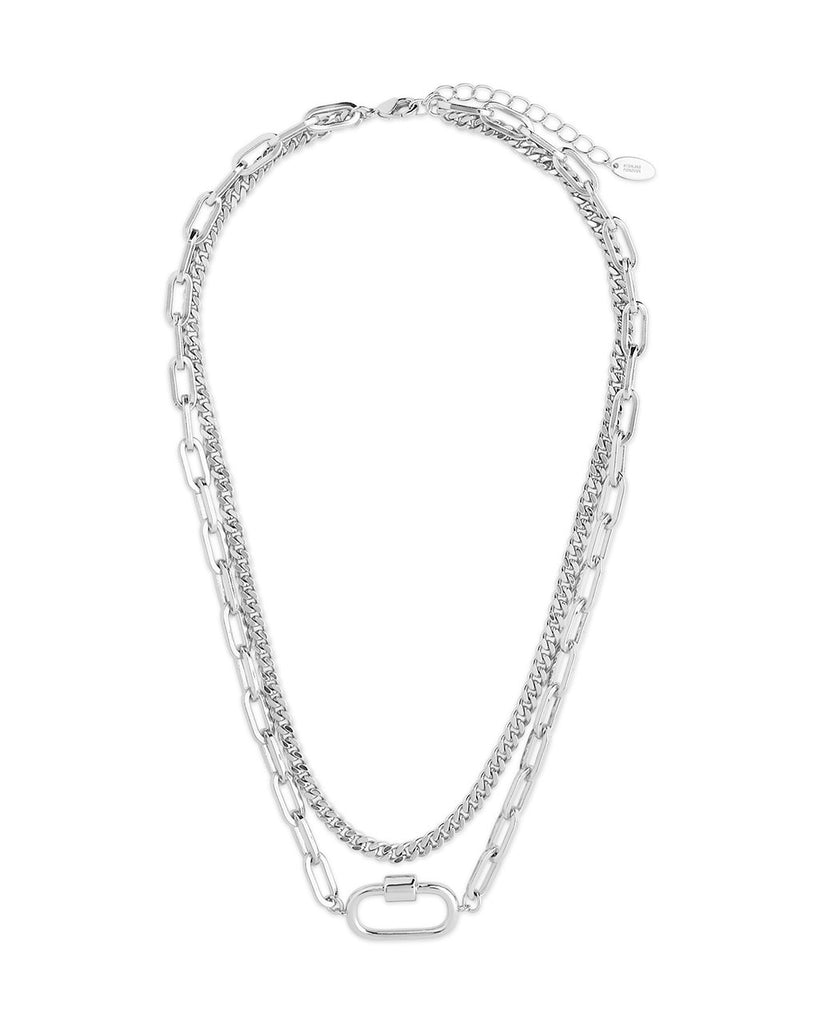 Polished Carabiner Layered Chain Necklace Necklace Sterling Forever