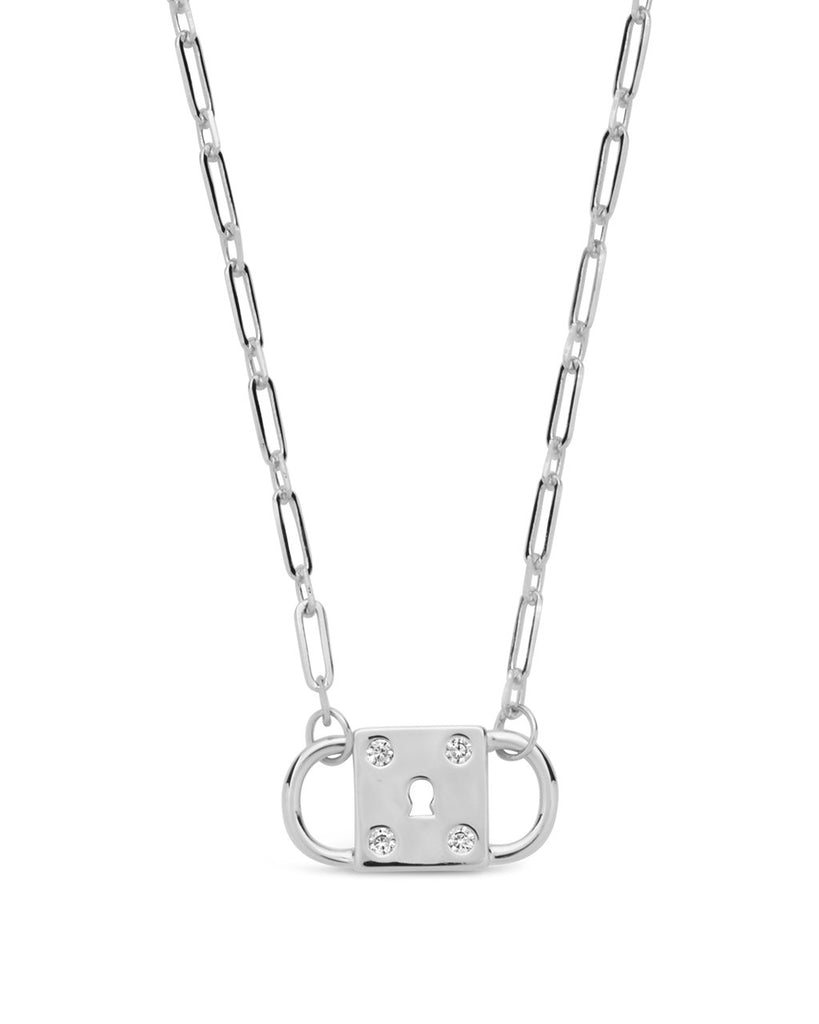 Double Padlock Pendant Necklace Sterling Forever Silver
