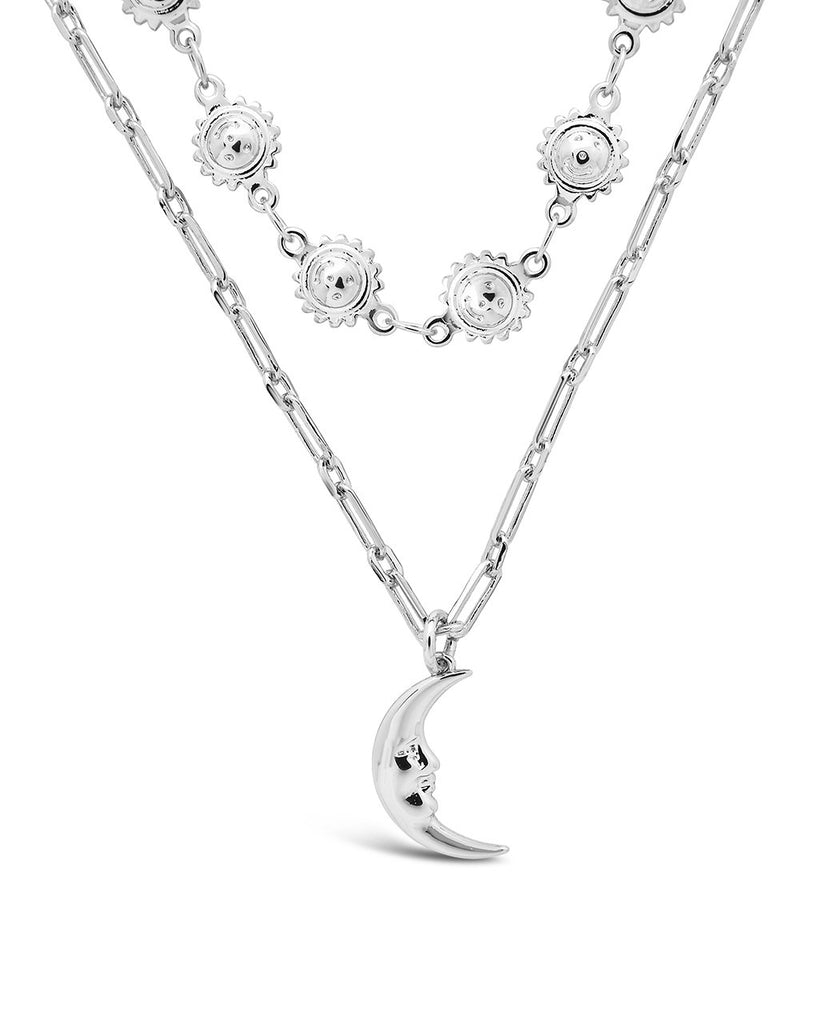 Sun Chain & Moon Layered Necklace Necklace Sterling Forever Silver