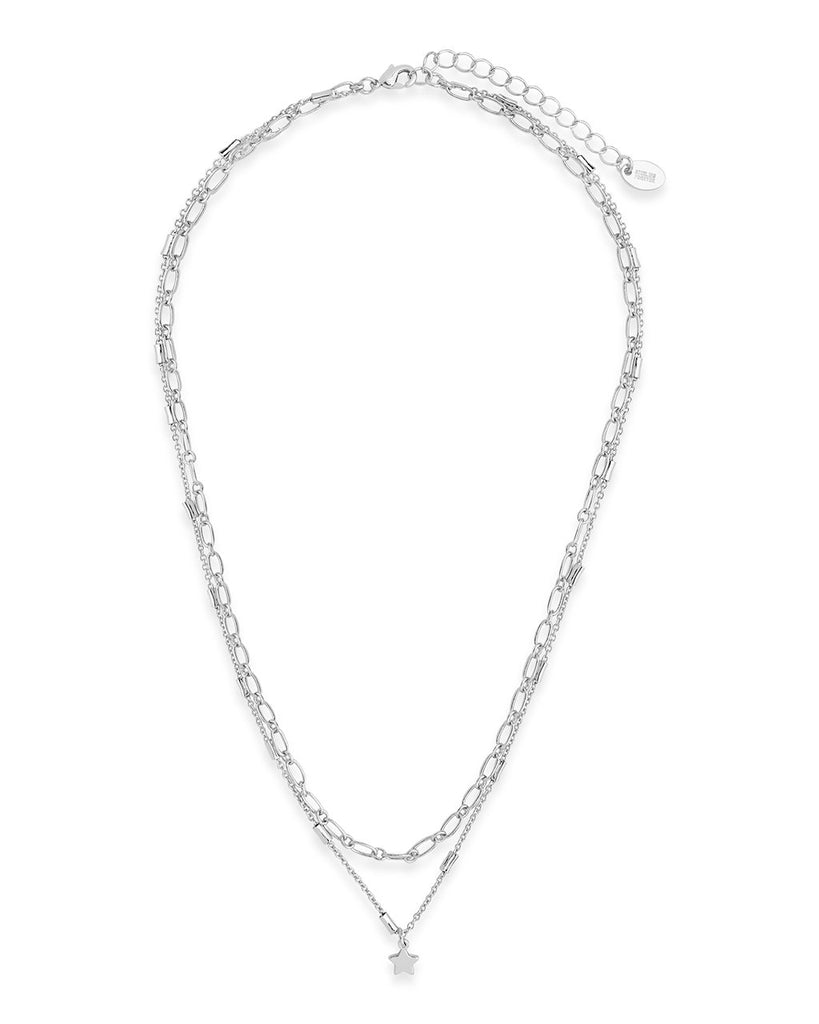 Linked Star Charm Layered Choker Necklace Sterling Forever