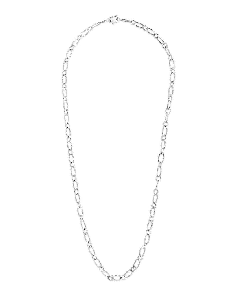 Textured Oval Link Chain Necklace Sterling Forever Silver