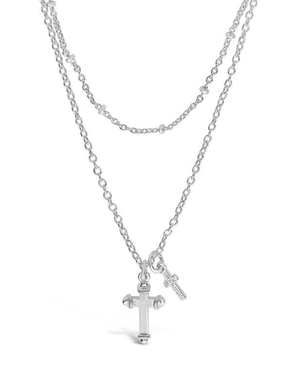 Double Cross Pendant Layered Necklace Necklace Sterling Forever Silver