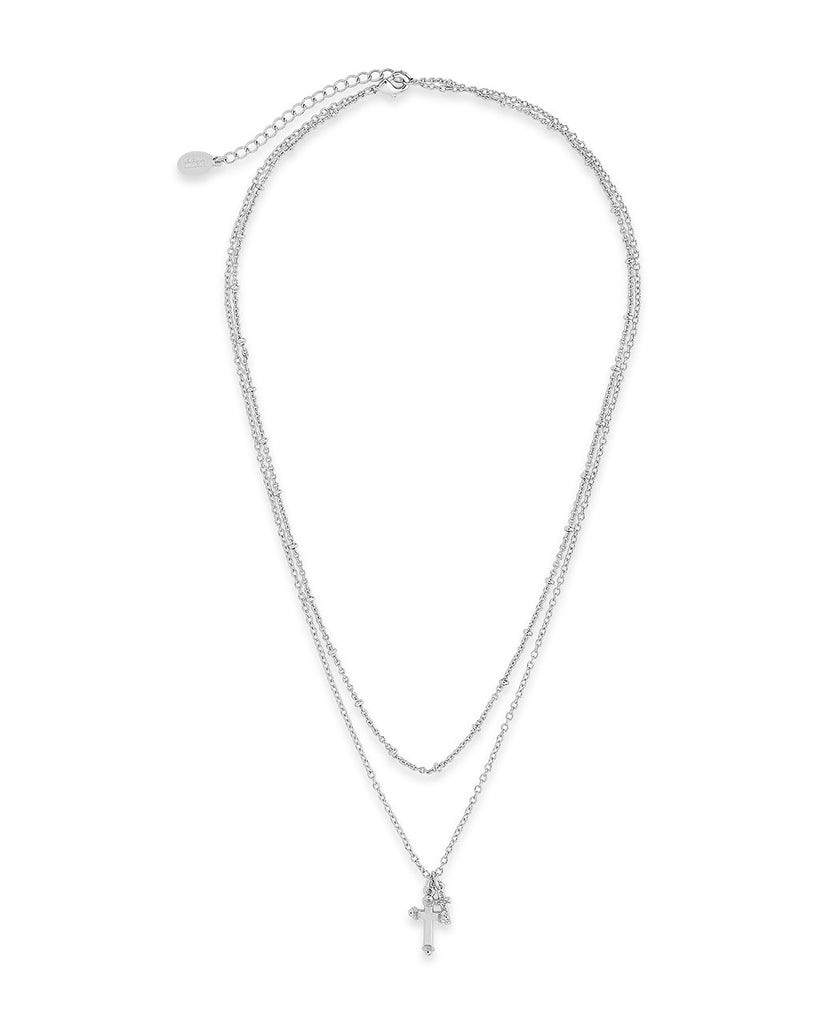 Double Cross Pendant Layered Necklace Necklace Sterling Forever
