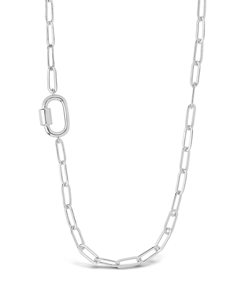 Polished Carabiner Station Necklace Necklace Sterling Forever Silver
