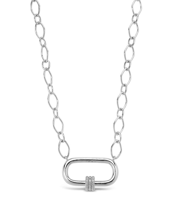 Polished Carabiner Pendant Necklace Necklace Sterling Forever Silver