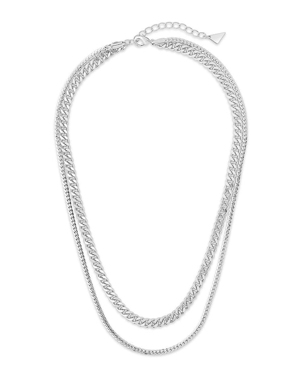 Curb & Herringbone Chain Layered Necklace Necklace Sterling Forever Silver