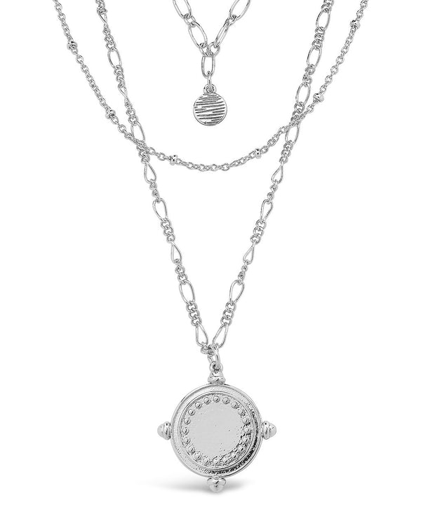 Three Layer Medallion Necklace Necklace Sterling Forever Silver