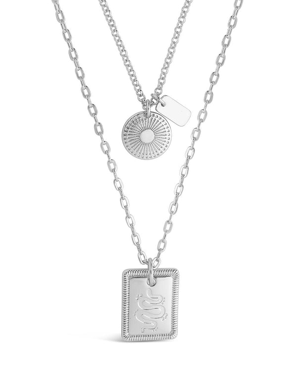 Engraved Disc & Tag Layered Necklace Necklace Sterling Forever Silver