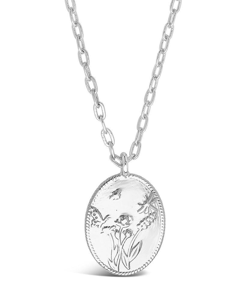 Engraved Garden Pendant Necklace Sterling Forever Silver